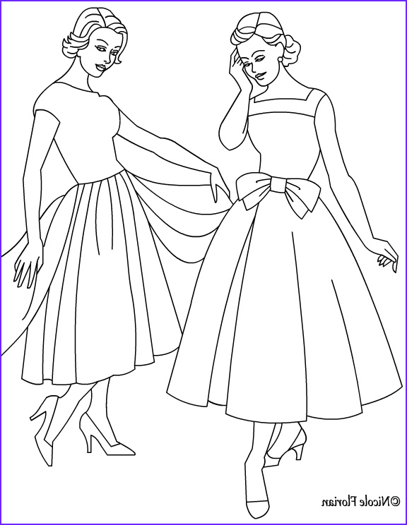 vintage fashion coloring page