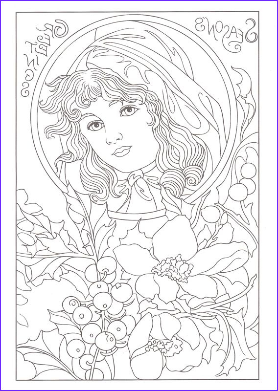 fanciful faces adult coloring