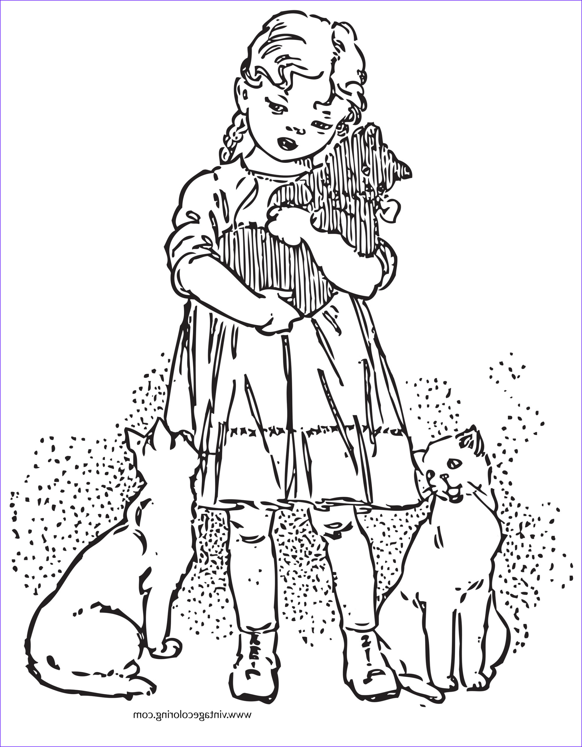 girl and favorite kitten a free vintage coloring page