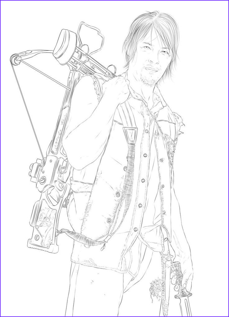 Walking Dead Coloring Page Awesome Gallery the Walking Dead Daryl Coloring Pages