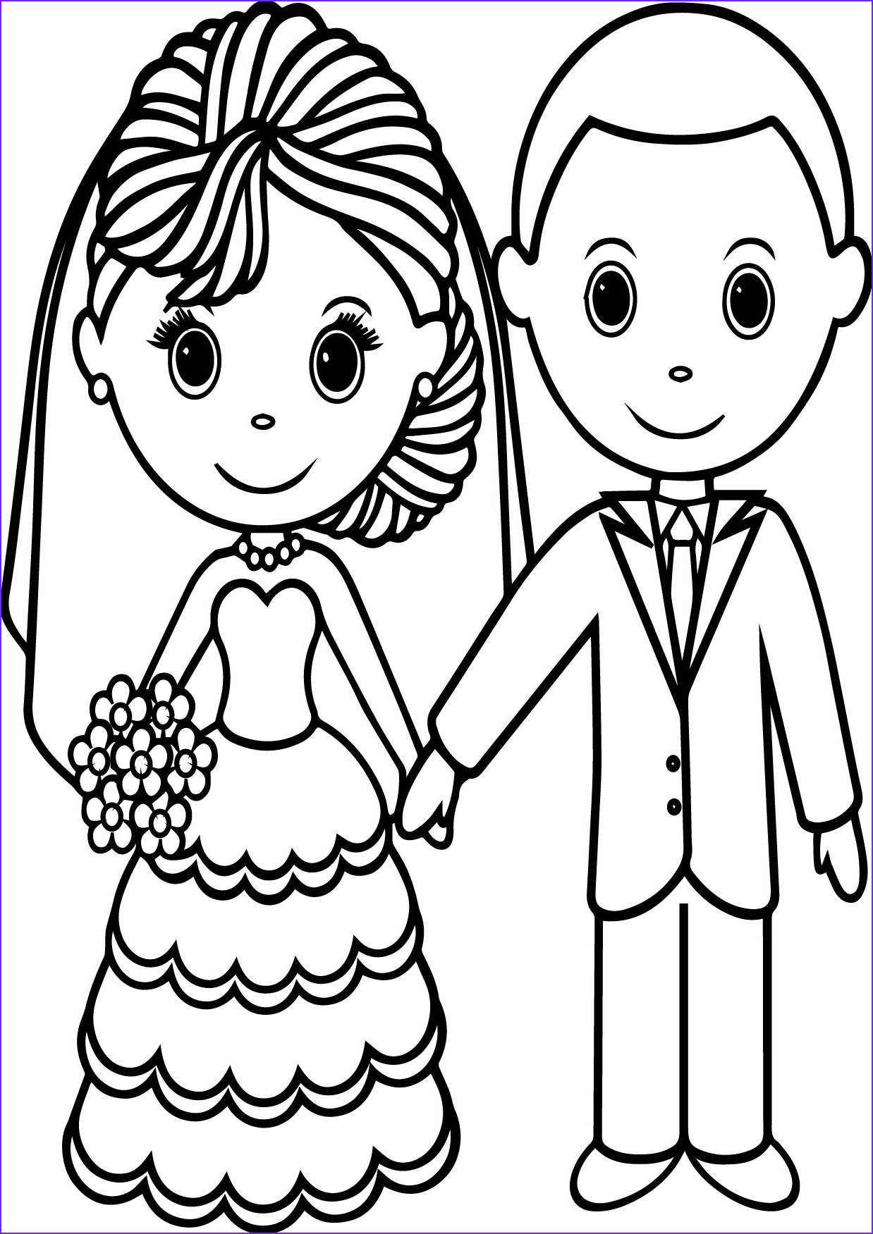 bride and groom coloring pages