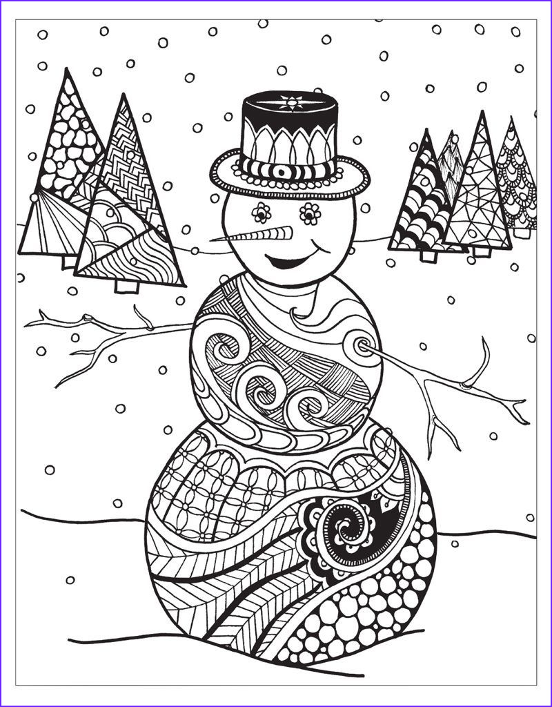 Winter Coloring Pages for Adults Best Of Images Snowman Scene Design Printable Coloring Sheet