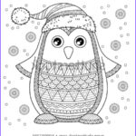 Winter Coloring Pages For Adults Luxury Gallery Merry Christmas Jolly Penguin Detailed Coloring Stock