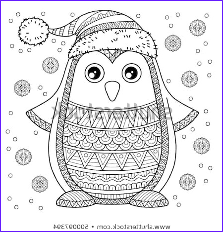 merry christmas jolly penguin detailed coloring