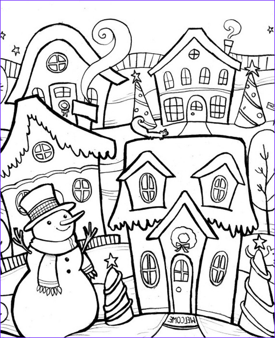 Winter Scene Coloring Pages Elegant Photos Winter Coloring Scene Chirstmas Winter Coloring Pages