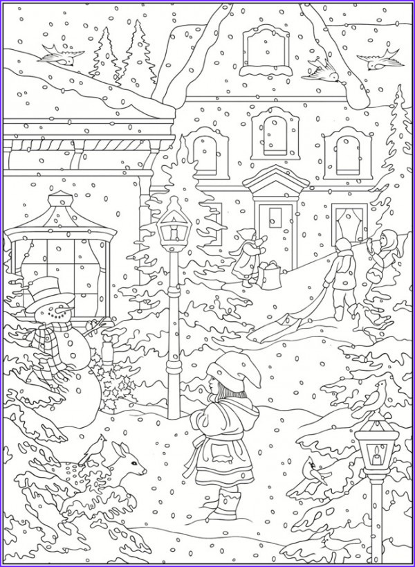 Winter Scene Coloring Pages Inspirational Images Freebie Winter Coloring Pages – Stamping