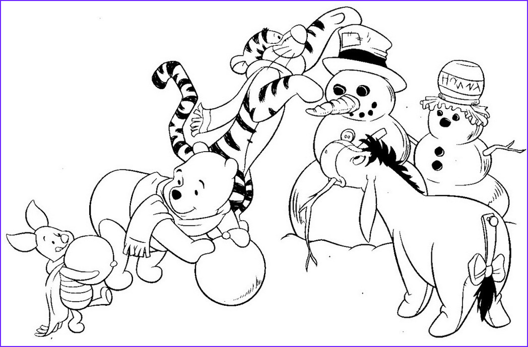 winter scene coloring page free