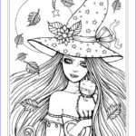 Witch Coloring Pages For Adults Beautiful Photos Free Witch And Cat Halloween Coloring Page By Molly