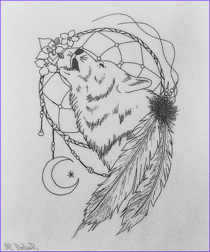 Wolf Coloring Pages for Adults Beautiful Collection Wolf Dreamcatcher by Sakiama D863vxp 816×980