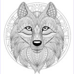 Wolf Coloring Pages For Adults Beautiful Stock Mandala With Geometric Patterns And Wolf Head Full Of