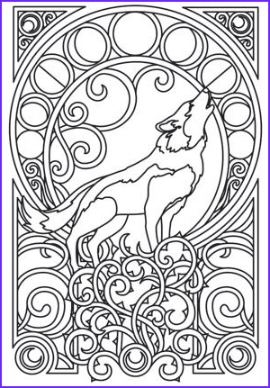 Wolf Coloring Pages for Adults Inspirational Collection A Majestic Wolf is Framed by Intricate Art Nouveau Swirls