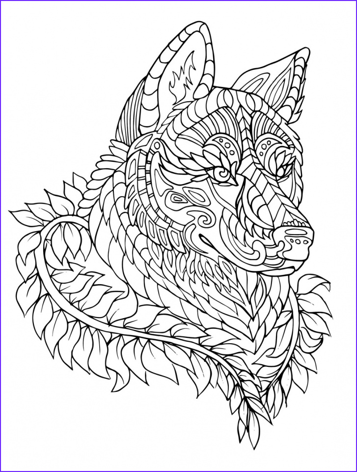 wolf coloring pages for adults to print for free