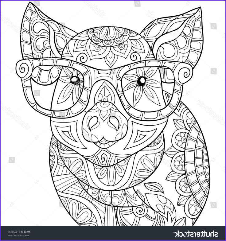 Zen Coloring Beautiful Photos Adult Coloring Page Book A Pig Zen Style Art Illustration