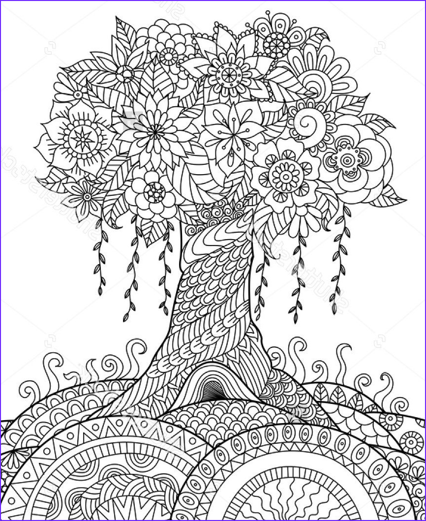 Zentangle Coloring Books Beautiful Images Zentangle Tree On A Hill Shutterstock