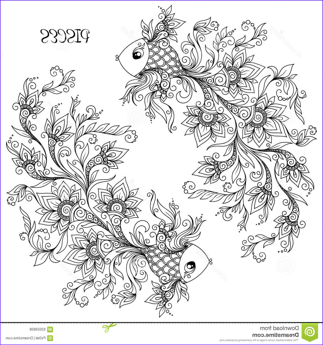 stock illustration hand drawn pattern coloring book zodiac pisces line flowers art horoscope symbol your use tattoo art books image