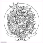 """Zodiac Coloring Book New Image """"lion Zodiac Sign Coloring Book Vector"""" Stock Image And"""