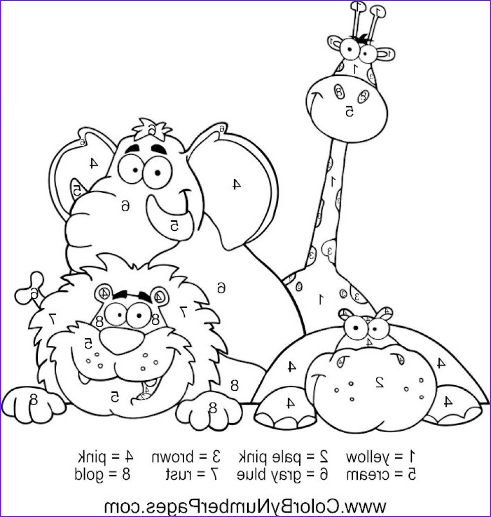 Zoo Animals Coloring Pages Luxury Photos Happy Zoo Animals Color by Number Coloring Picture