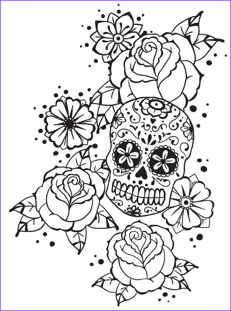 Adult Coloring Page Rose Luxury Stock Calavera N Roses For Monsieur Notebook By Spicykitty On