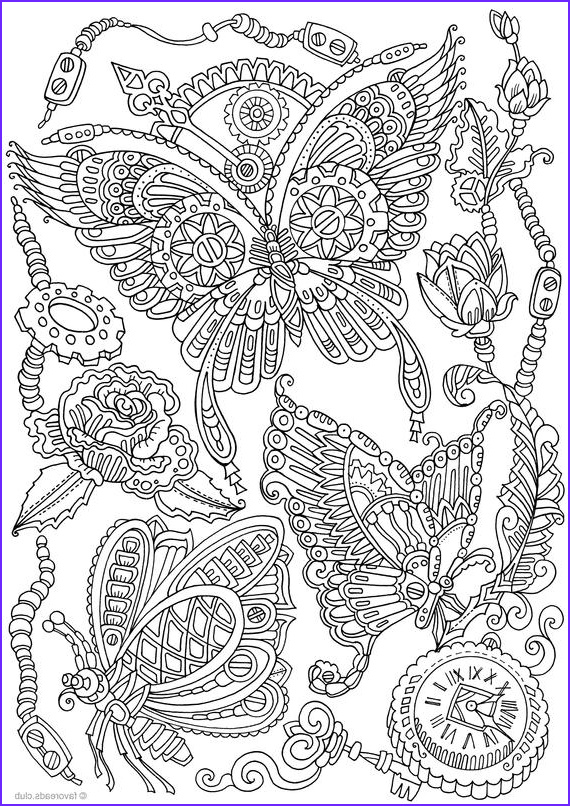 Adult Coloring Print Cool Stock Steampunk butterflies Printable Adult Coloring Page From