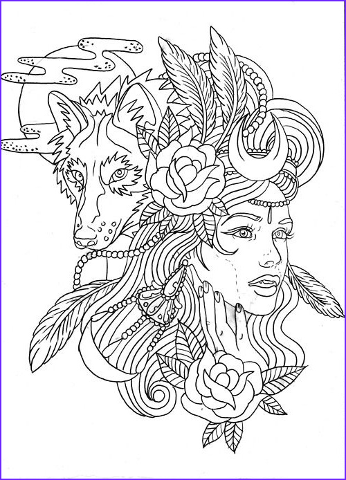 Adult Coloring Wolf Awesome Images Wolf Girl Colouring Page