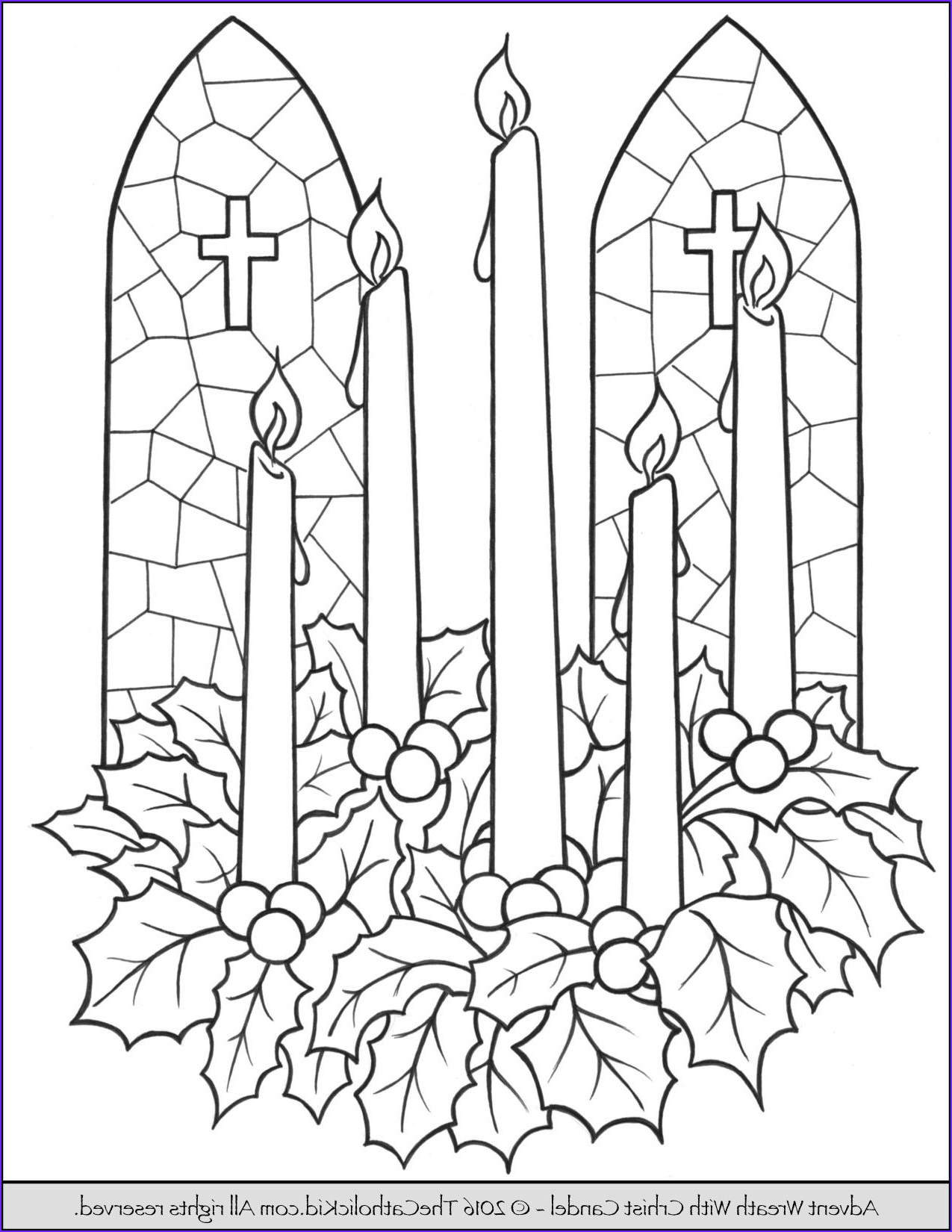advent candle wreath coloring page
