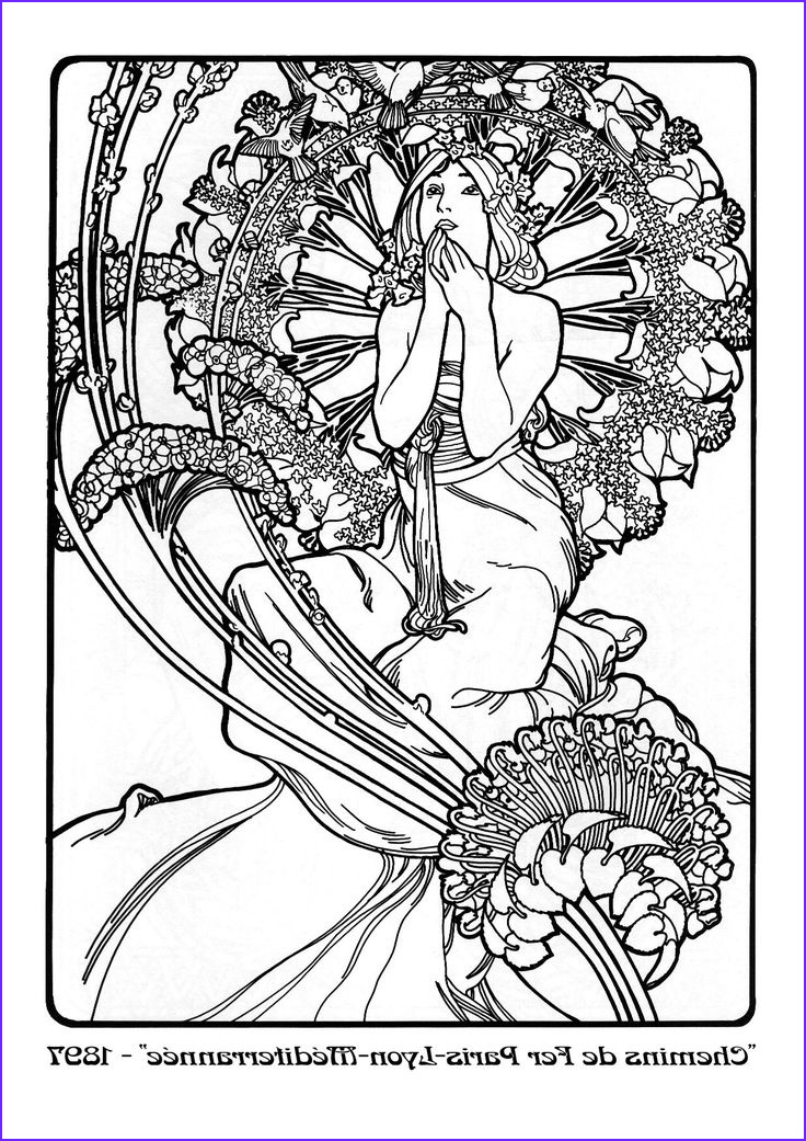 Alphonse Mucha Coloring Page Awesome Images Alphonse Mucha Coloring Pages