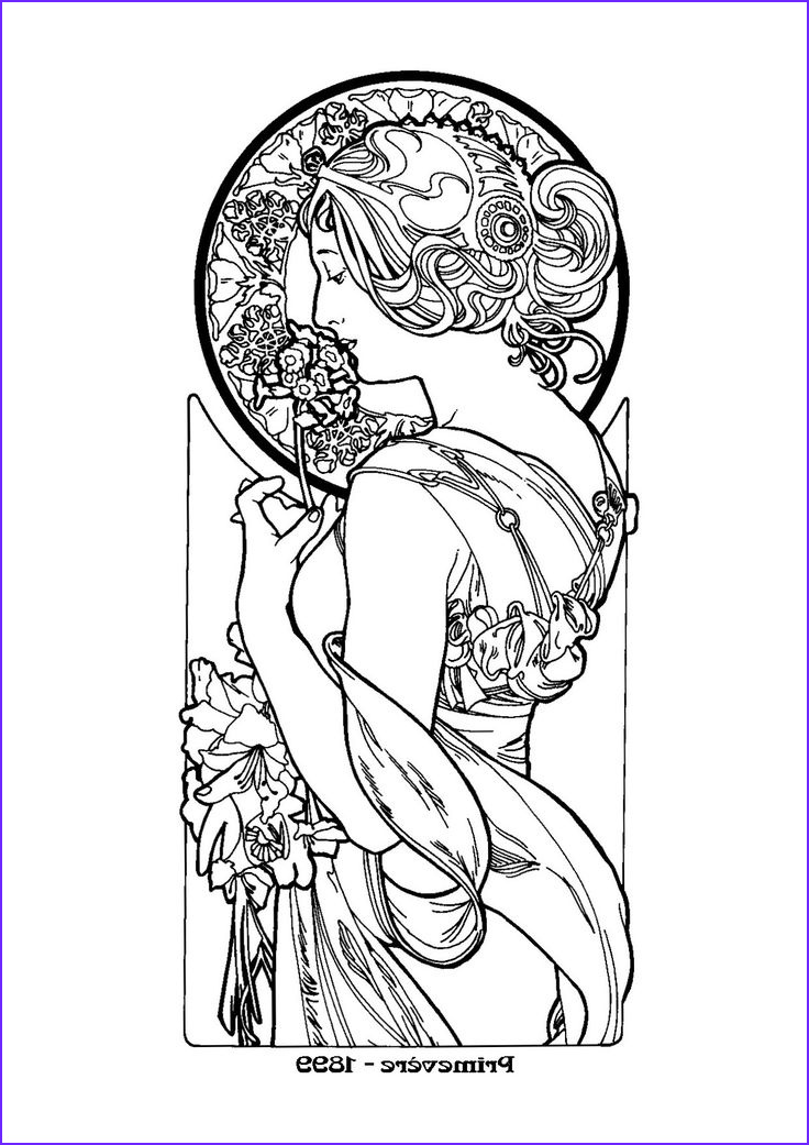 Alphonse Mucha Coloring Page Best Of Collection Alphonse Mucha Coloring Pages Nouveau Mucha Colouring