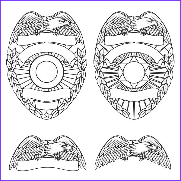 police badge with eagles coloring page