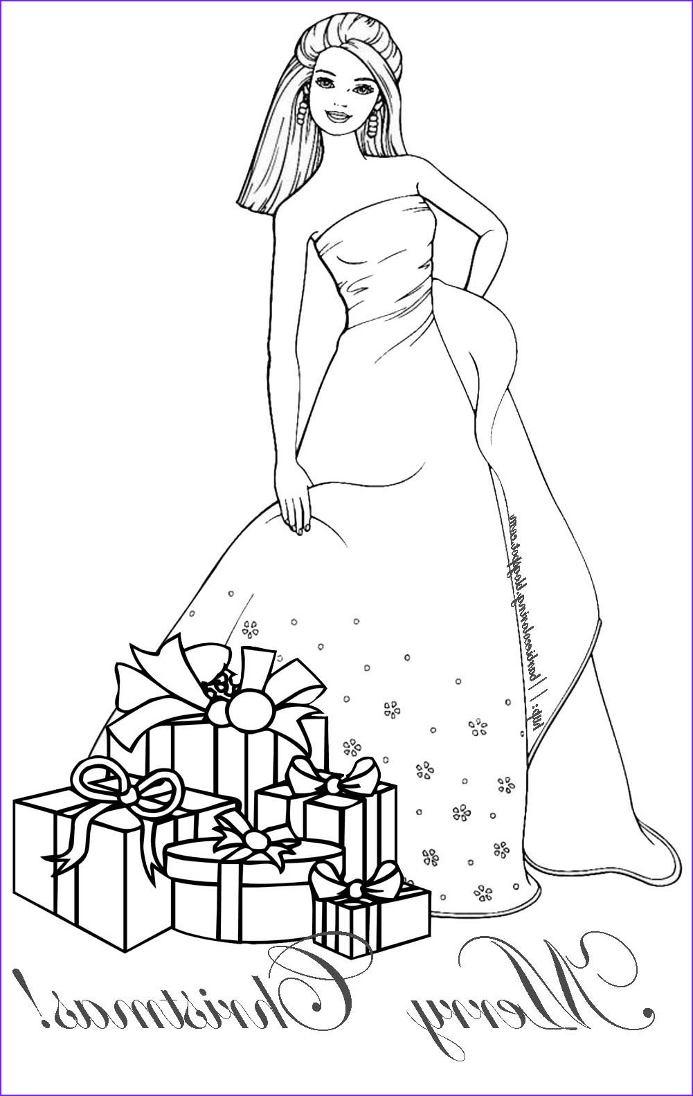 barbie christmas coloring page