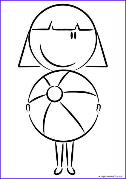 girl with beach ball colouring page