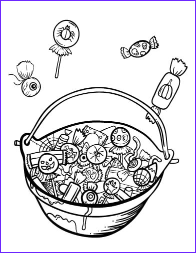 Get coloring page candy basket