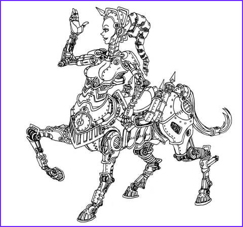 Centaur Coloring Page Awesome Image Steampunk Centaur Robot Coloring Page From Steampunk