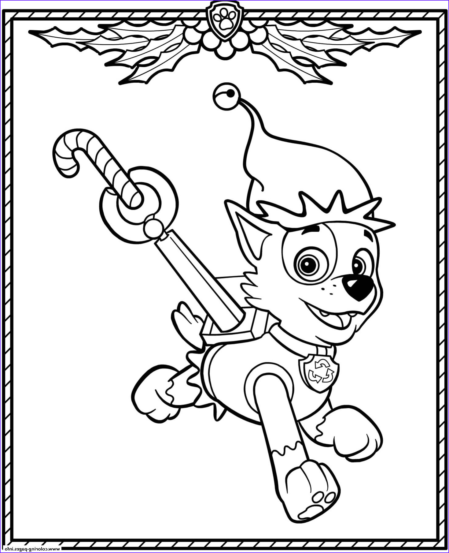 paw patrol holiday christmas rocky printable coloring pages book