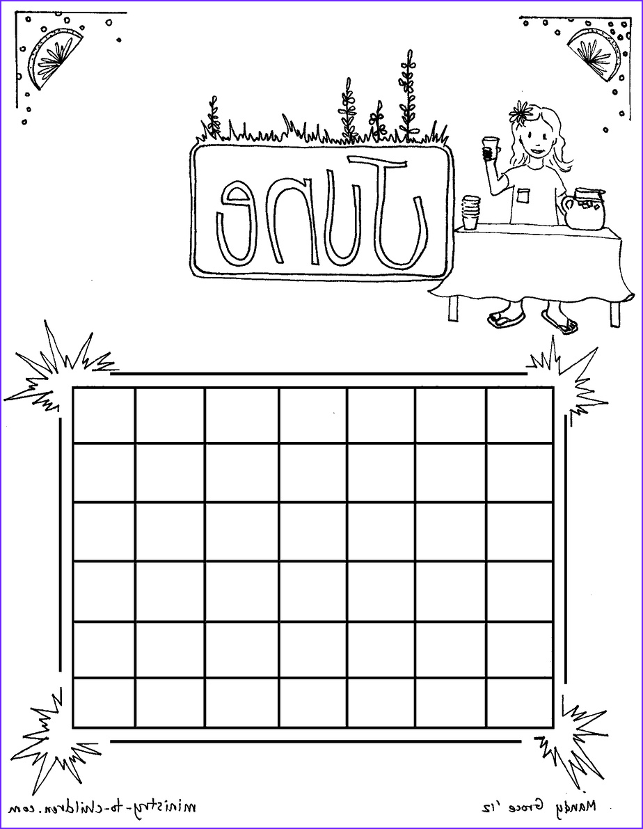 june calendar coloring page
