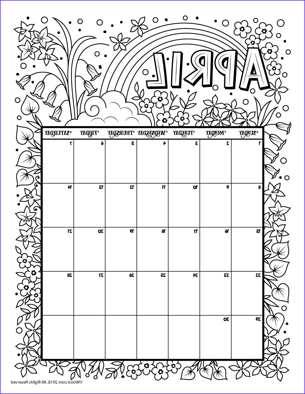 Coloring Book Calendar Unique Images Printable Coloring Calendar for 2019 and 2018