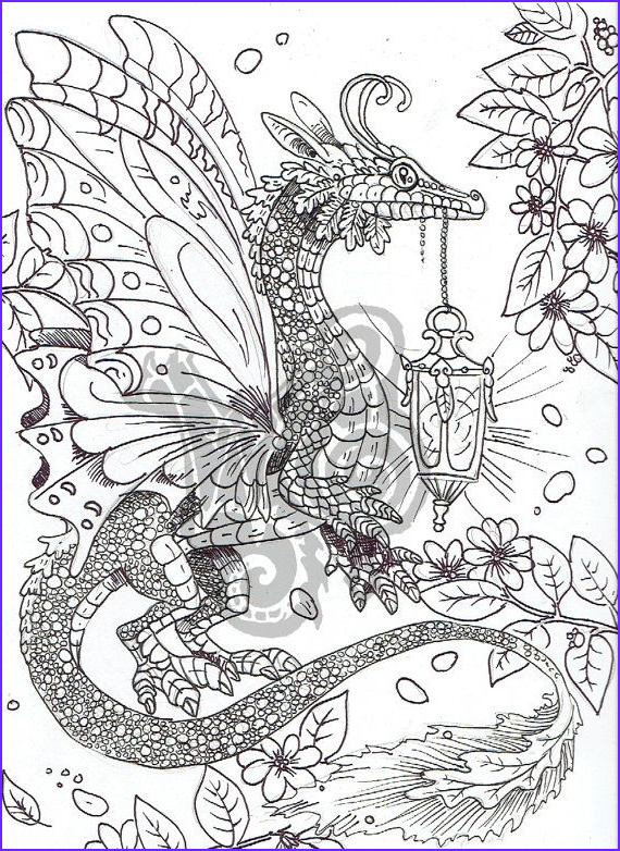 Coloring Book Dragons Awesome Gallery Digital Coloring Page Dragon In The Garden By Shadowind On