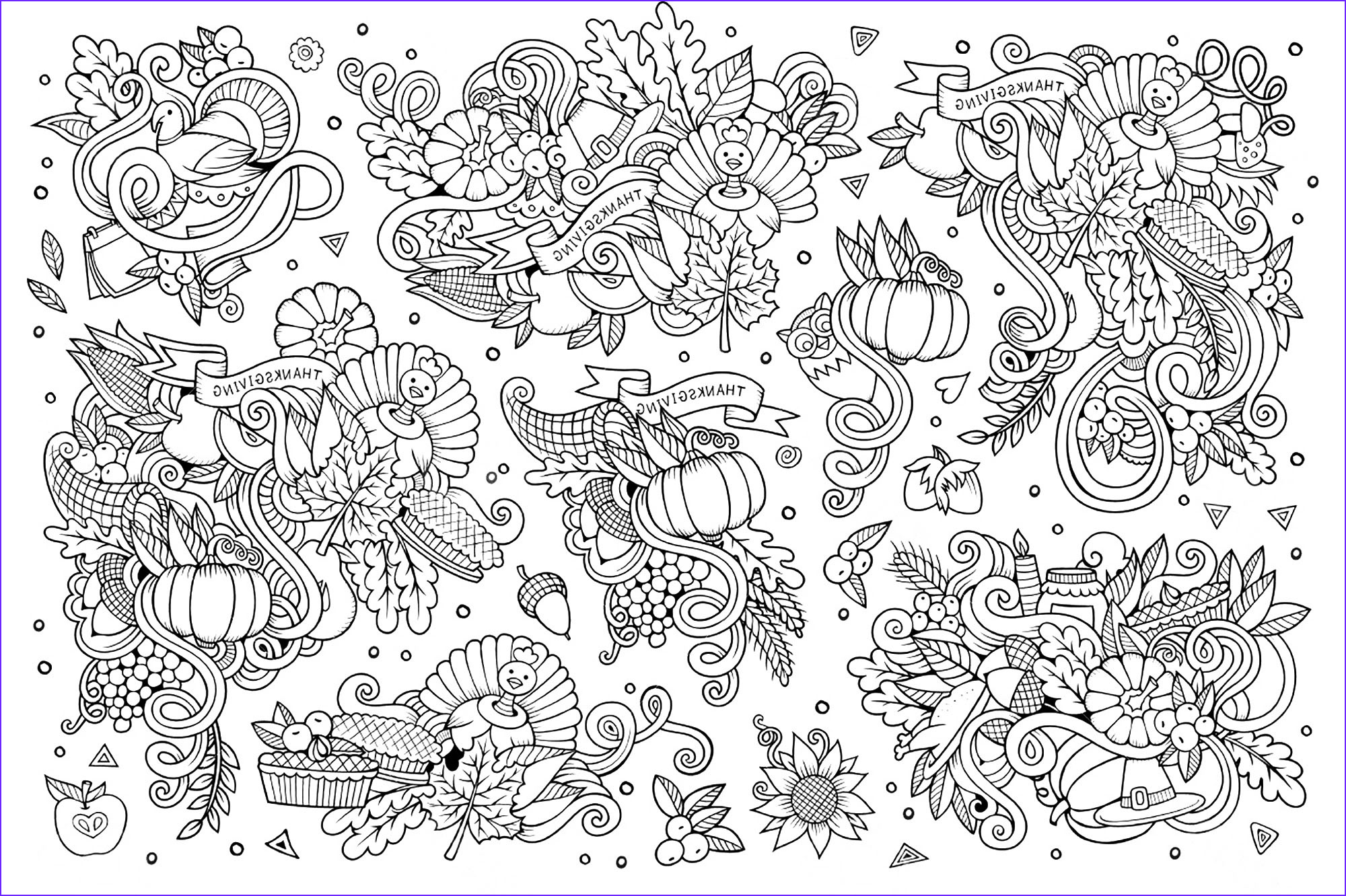 Coloring Book Page for Adults to Print Elegant Gallery Thanksgiving Doodle 3 Thanksgiving Coloriages