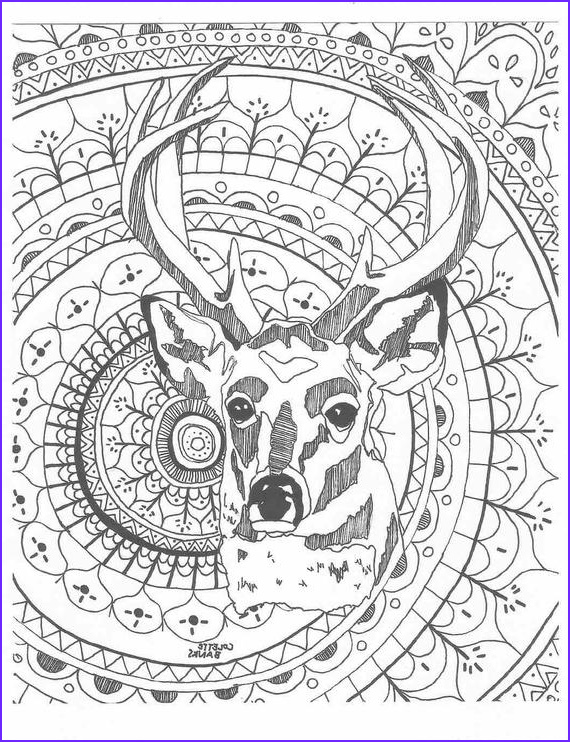 Coloring Book Page for Adults to Print New Photos Mandala Adult Coloring Page Deer Digital Print by Essenceofink