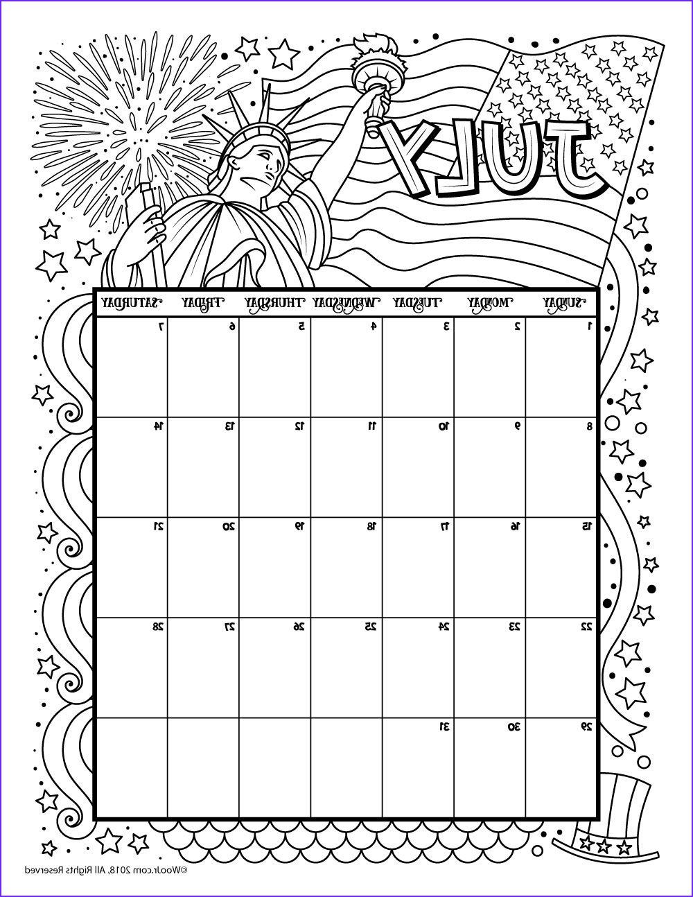 Coloring Calendar 2018 Beautiful Photography July 2018 Coloring Calendar Page