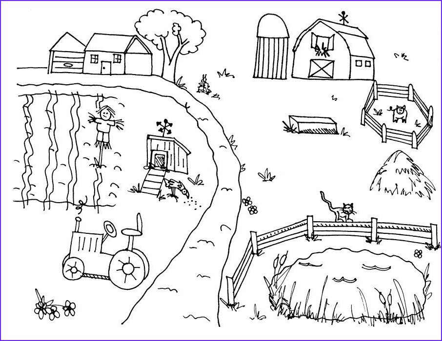 Coloring Page Farm Inspirational Gallery Farm Scene Countryside Coloring Sheets
