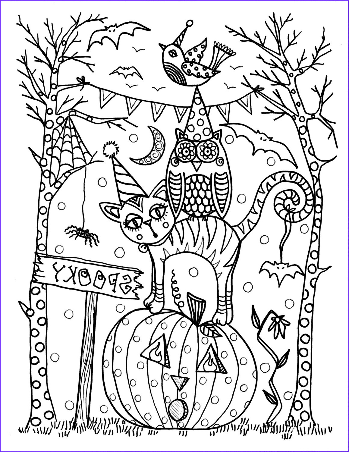 Coloring Page for Adults Halloween Beautiful Images 5 Pages Instant Download Halloween Coloring Pages 5