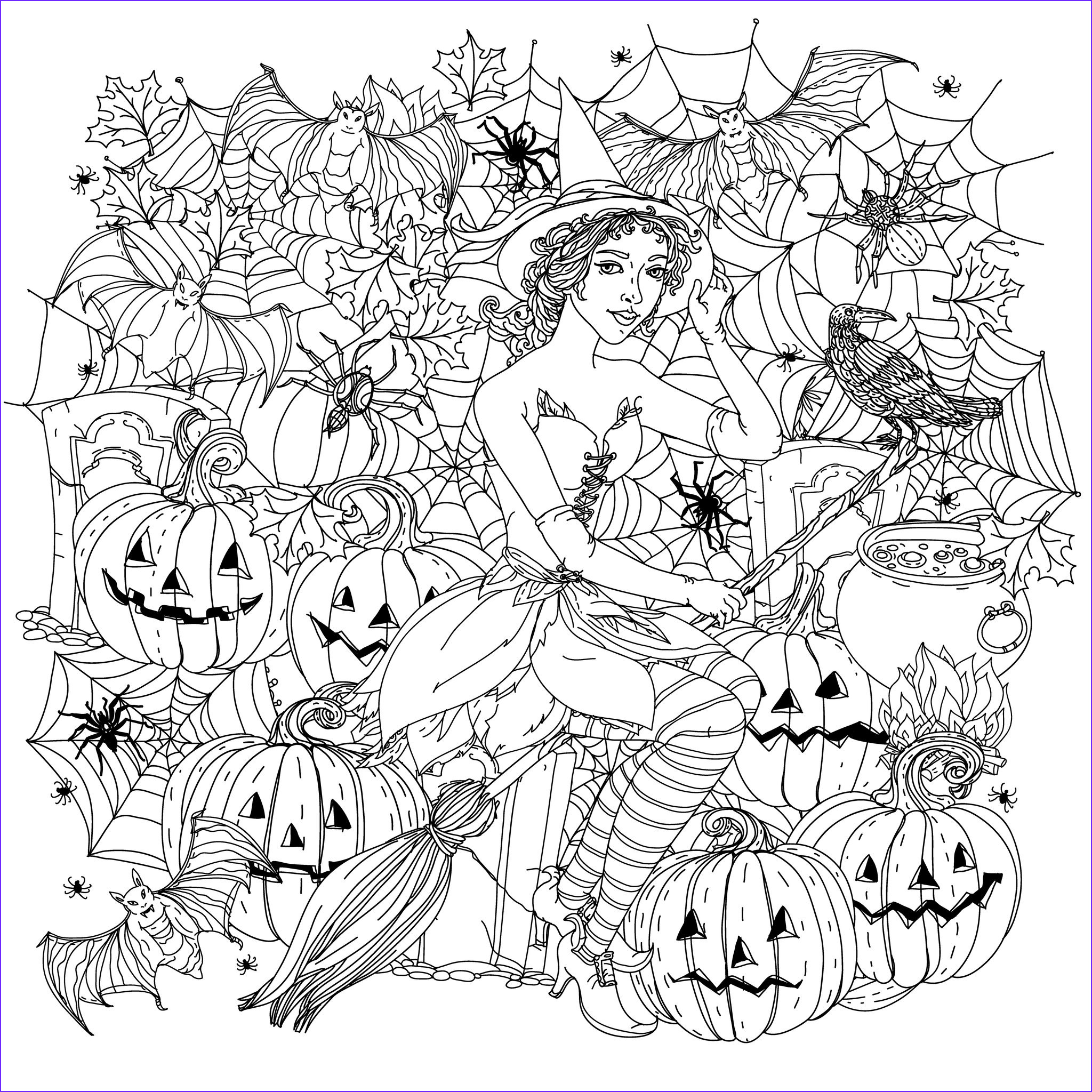 Coloring Page for Adults Halloween Unique Stock Halloween Witch with Pumpkins Halloween Adult Coloring Pages