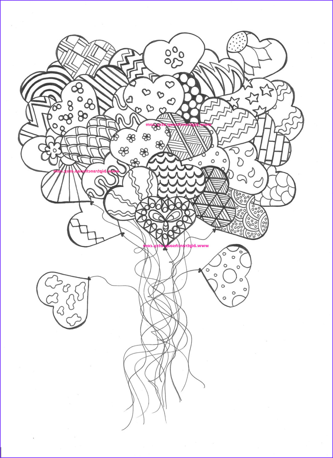 Coloring Page for Adults Hearts Beautiful Image Adult Coloring Page for Grown Ups Heart by Bigtranchsoap
