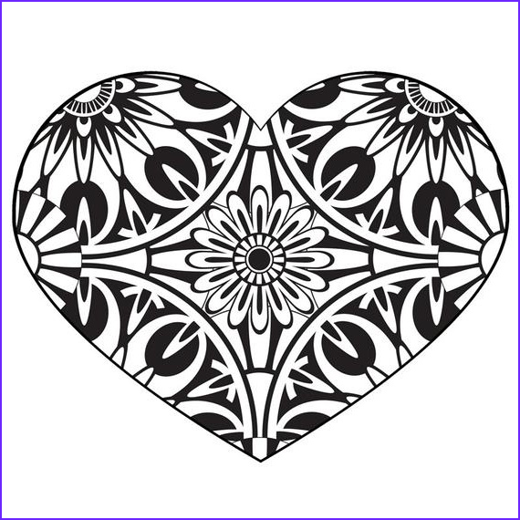 printable heart coloring page adult
