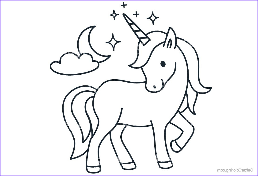 cartoon chibi unicorn coloring pages