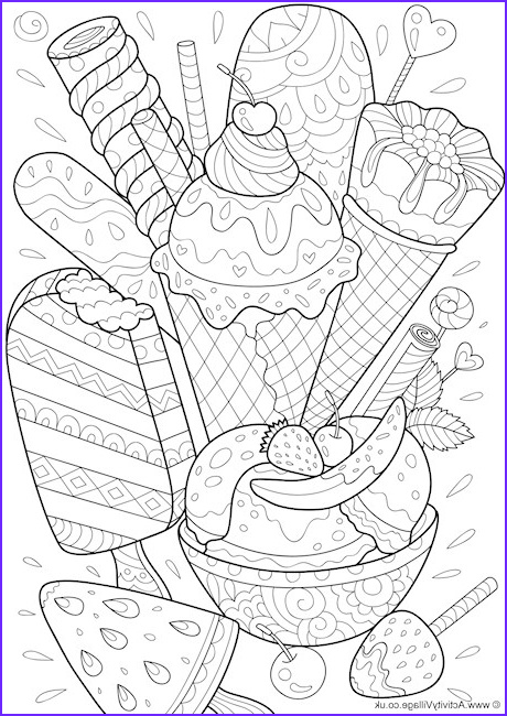 ice cream doodle colouring page