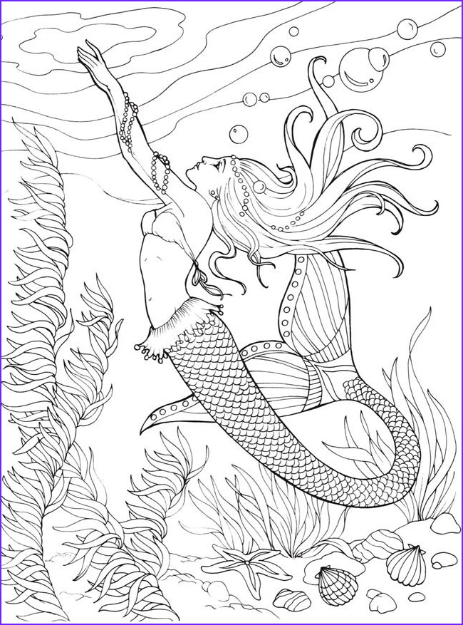 mermaid coloring pages for adults