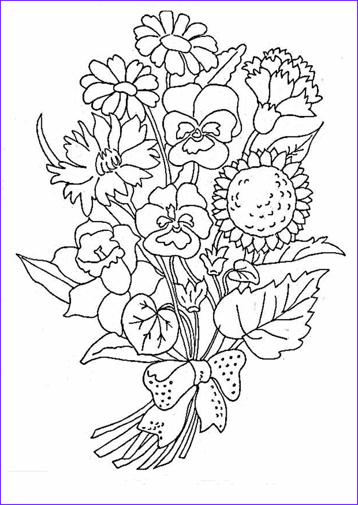 Coloring Page Of A Flower Awesome Photos Bouquet Flowers Coloring Pages for Childrens Printable