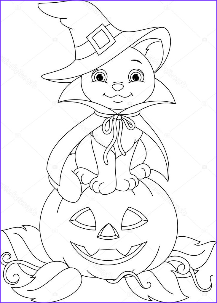 stock illustration halloween cat coloring page