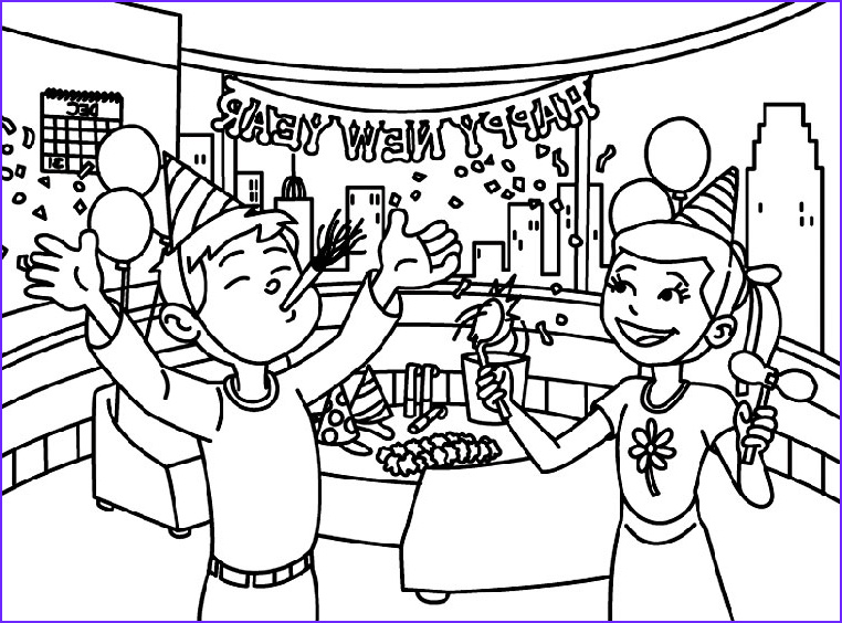 happy new year colouring pages